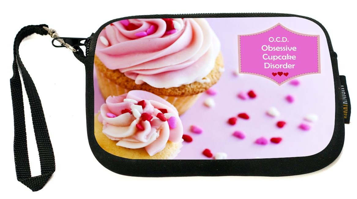 UKBK Obsessive Cupcake Disorder Pink Frosted Cupcakes Neoprene Clutch Wristlet with Safety Closure - Ideal case for Camera, Universal Cell Phone Case etc.