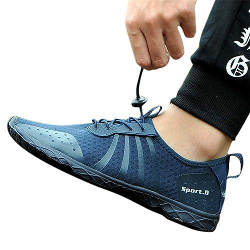 Zapatos de Agua para Hombre Acuáticos Escarpines Ligeros Calzado de Playa para Surf Buceo Zapatillas de Natación Negro Blanco Caqui Azul 39-47: Amazon.es: ...