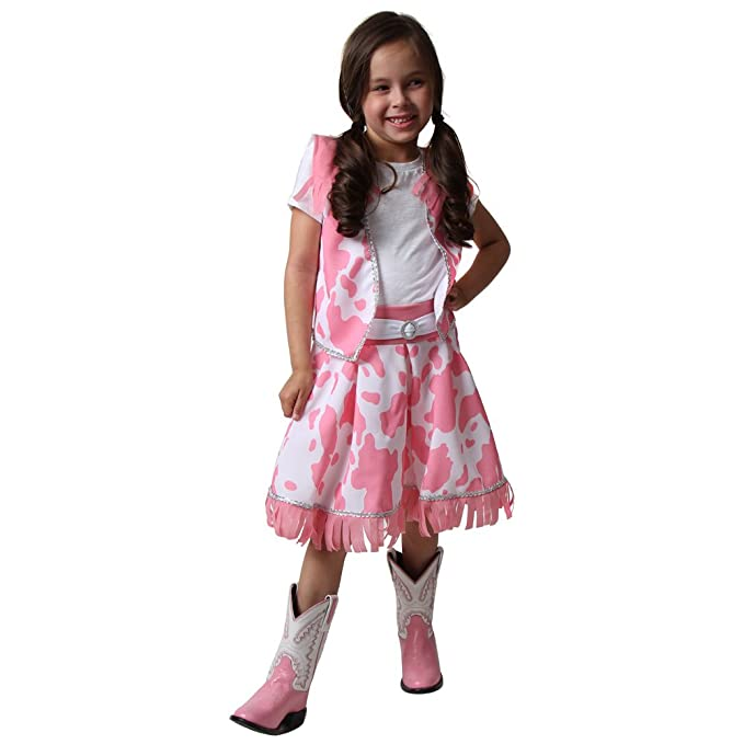 Classic Pastel Pink Cowgirl Costume Vest & Skirt Size 2/4