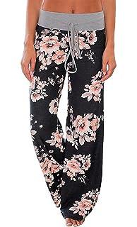 78c0a77bb2f AMiERY Women s Comfy Casual Pajama Pants Floral Print Drawstring Palazzo  Lounge Pants Wide Leg