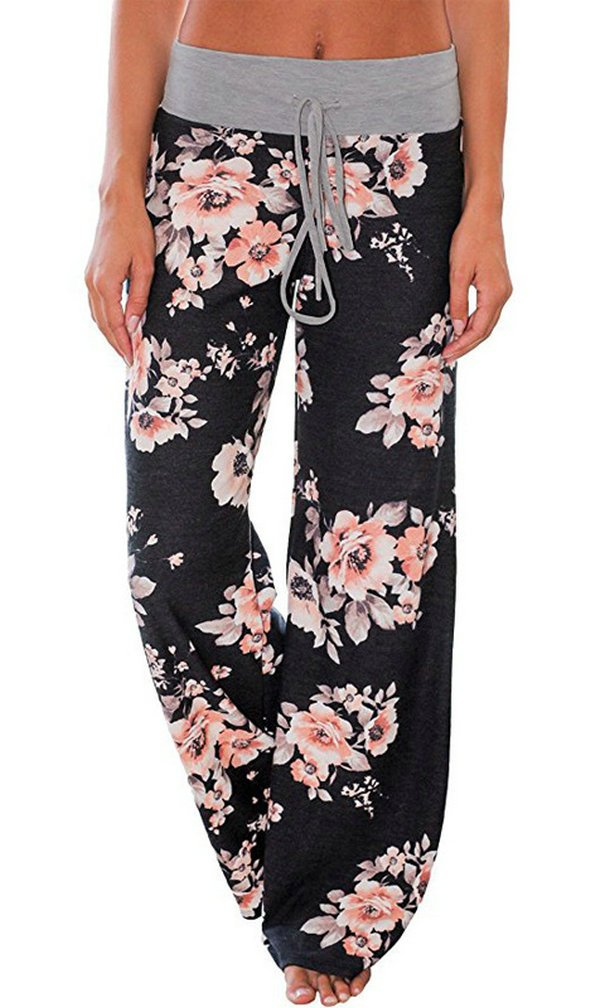 AMiERY Pajamas for Women Women's High Waist Casual Floral Print Drawstring Wide Leg Palazzo Pants Lounge Pajama Pants (Tag XXL (US 12), Black)