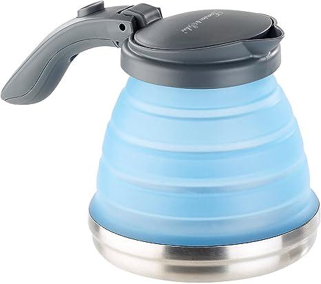 Rosenstein & Söhne Plegable calentador de agua: Hervidor de camping de silicona plegable con fondo de acero inoxidable, 800 ml (silicona calentador de ...