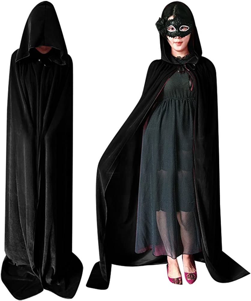 QBSM Unisex Adult Halloween Velvet Cloak with Hood Long Witch Costume Vampire Raven Cosplay Capes