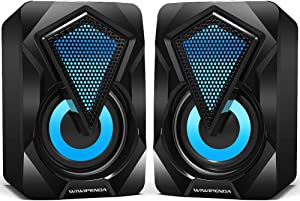 Computer Speakers Wiwipenda Wired PC Speaker 2.0 USB Gaming Powered Stereo Mini Multimedia Volume Control with RGB Lights 3.5mm Aux Input for Phone Tablets Desktop Laptop