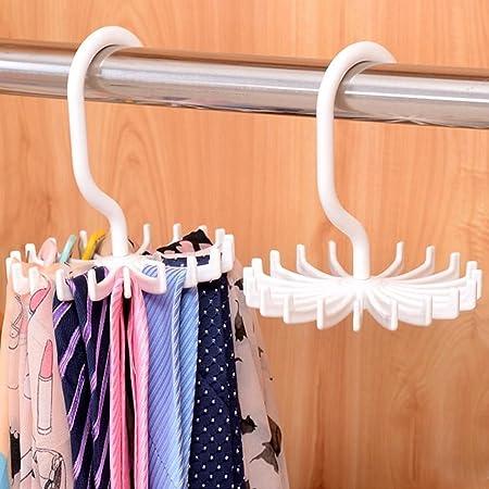Multi Scarf Hanger 18 Hook Wardrobe Space Organizer Storage Ties Belt Scarves UK