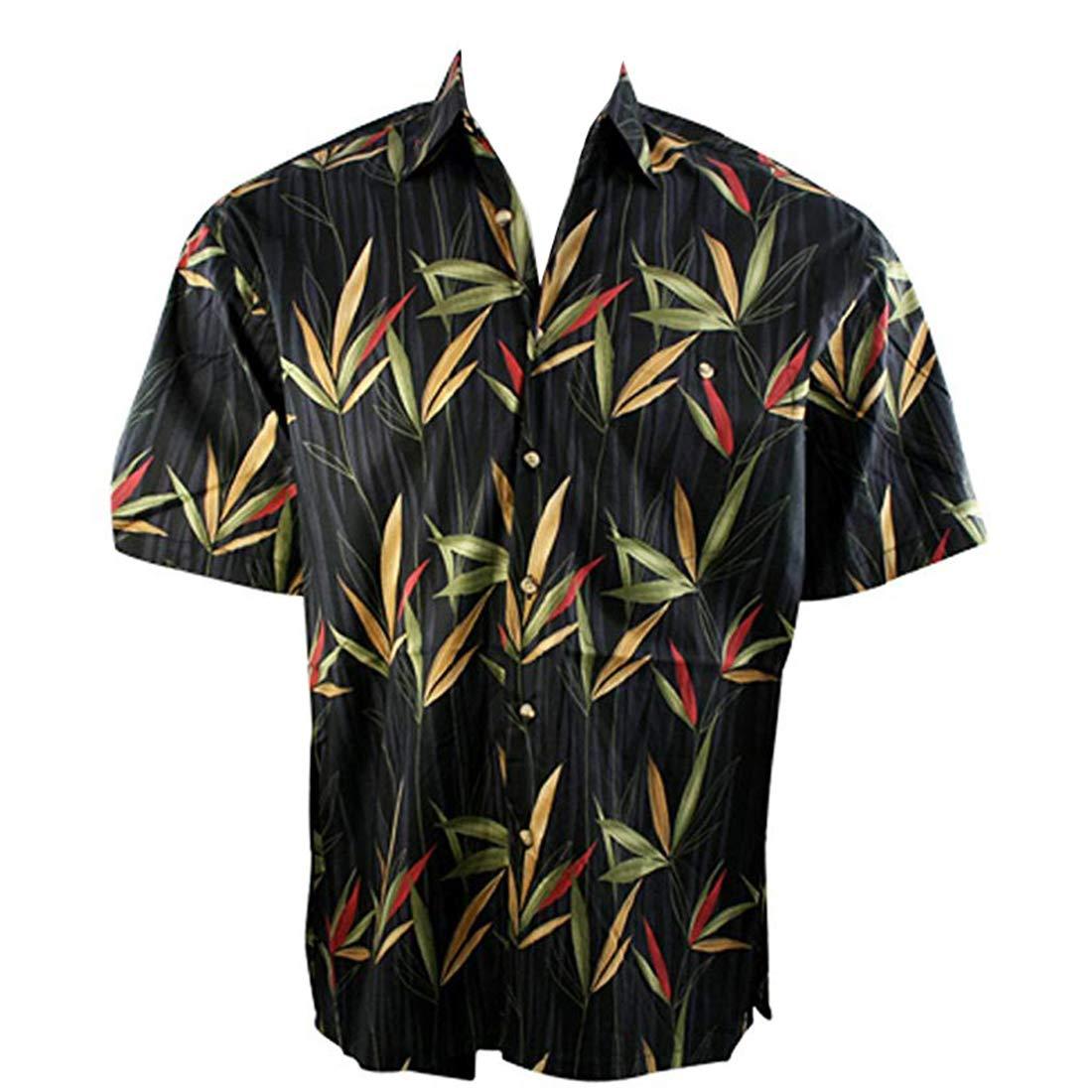 Bamboo Garden Tropical Style Black Colored Button Front Shirt Bamboo Cay