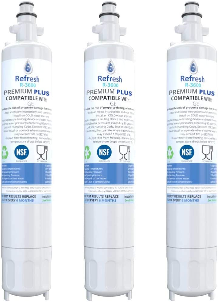 Refresh NSF-53 Replacement Refrigerator Filter Compatible With GE RPWF, R-3600 and FILTER models RWF1063, RWF3600A, RPWF, WSG-4 (does NOT fit RPWFE) - 3 Pack