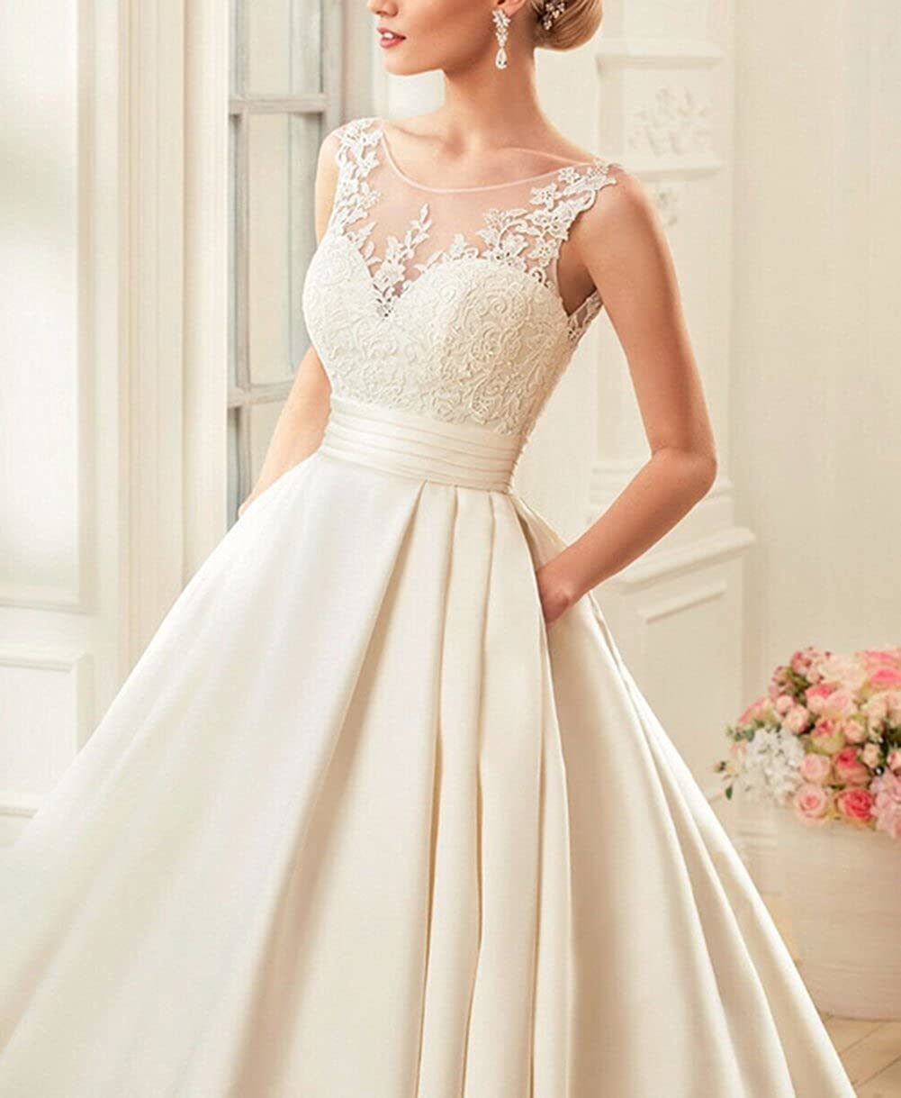 Lava-ring Womens A-line Round Neck Backless Wedding Dress Spring New Arrival 2018 at Amazon Womens Clothing store: