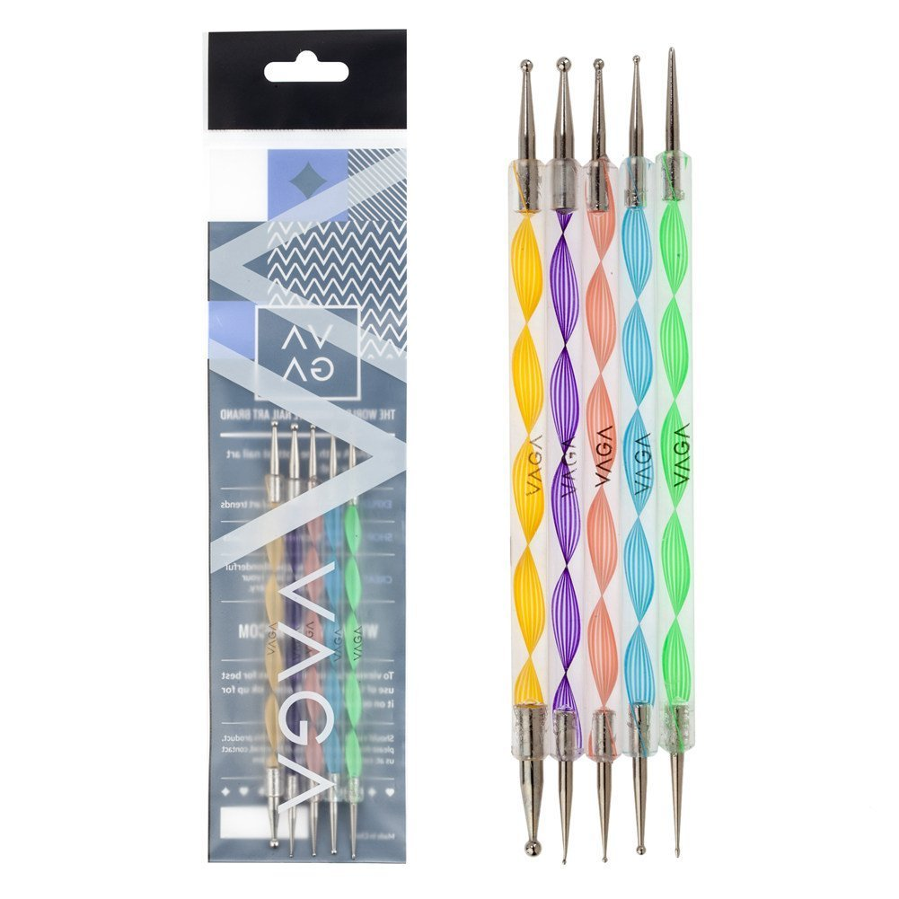 Premium Quality Professional Nail Art Set of 5 Double Ended Nail Art Dotting and Marbling Tools / Accessories With 10 Dot Sizes By VAGA