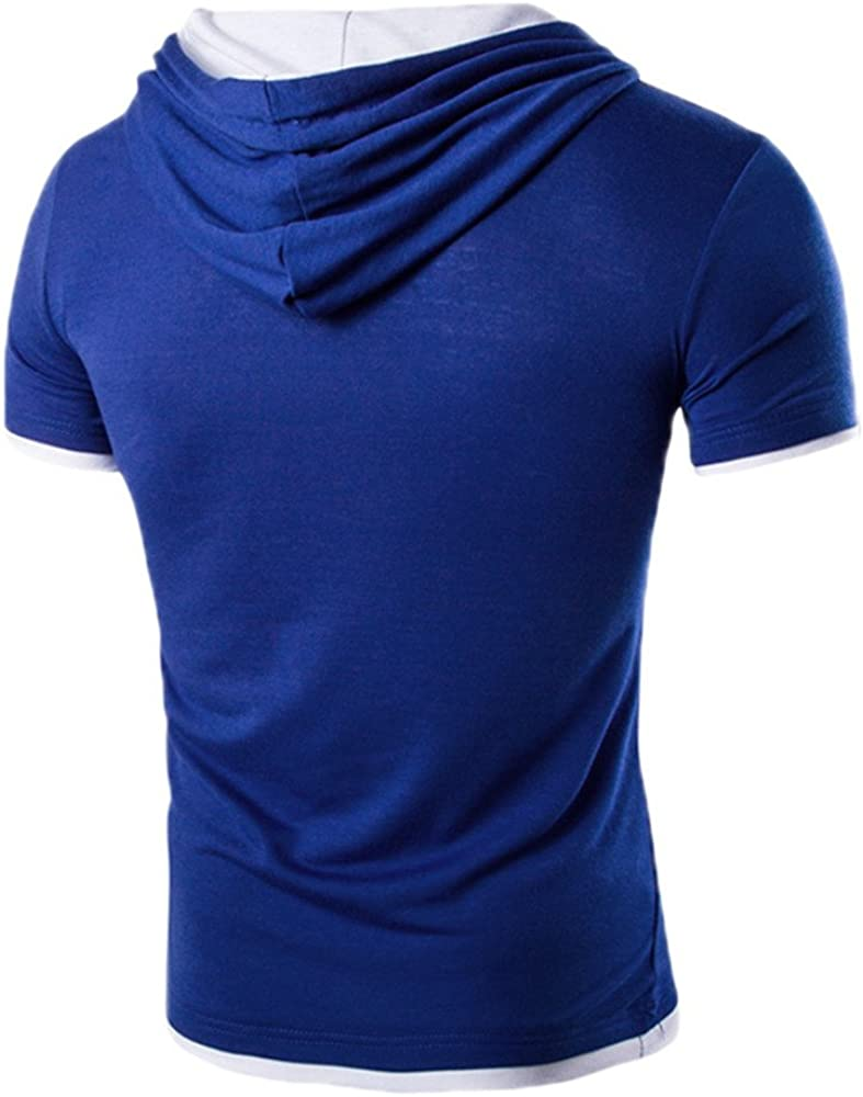 iLUGU Men Summer Fashion Pullover Mens Comfy Stretch T-Shirt Solid Color Hooded Short Sleeve