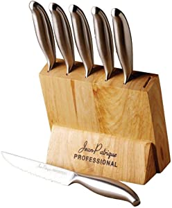 Jean Patrique 6-Piece Stainless Steel Steak Knife Sets - With Block