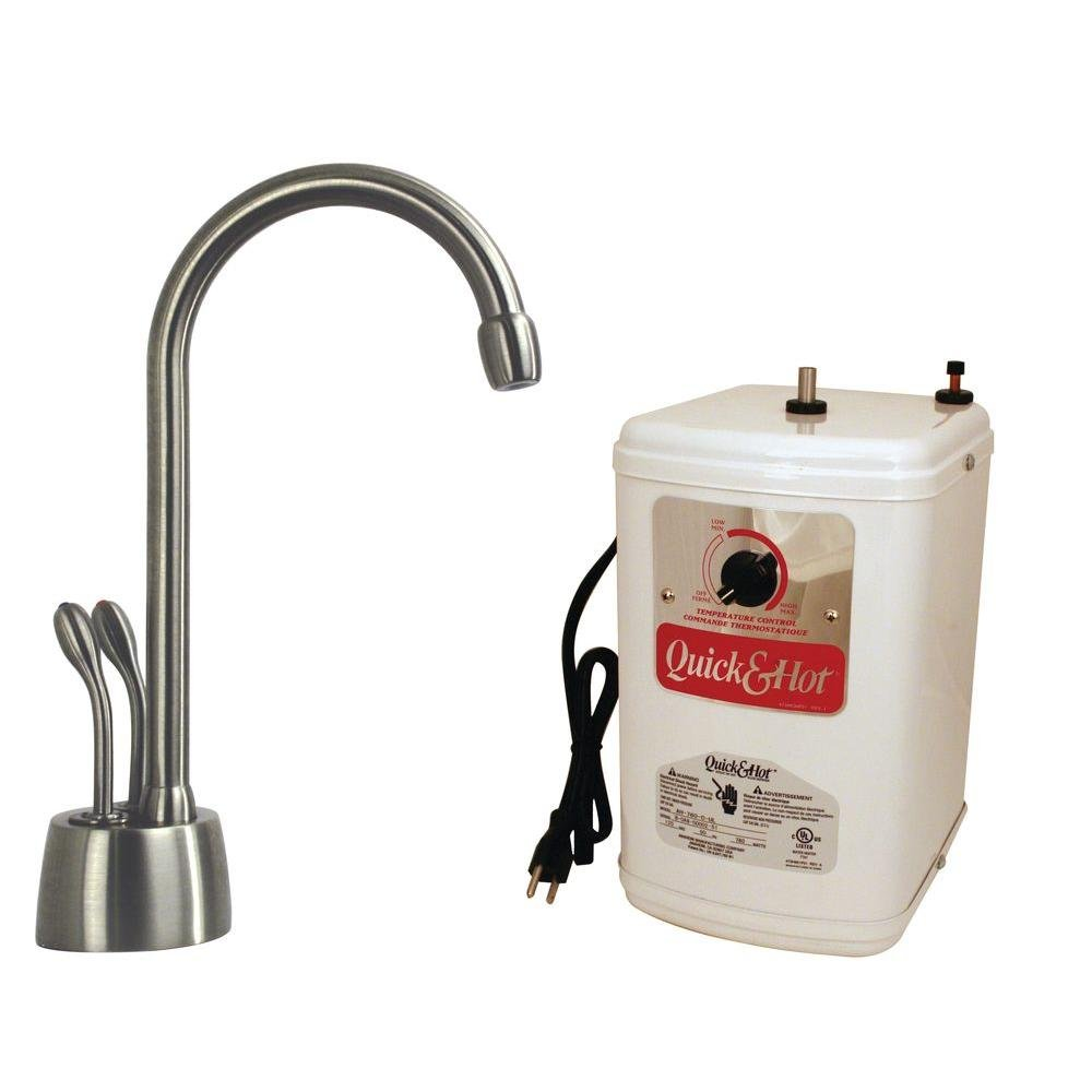 Westbrass Develosah 2-Handle Hot/Cold Water Dispenser Faucet with Tank, Satin Nickel, D272H-07