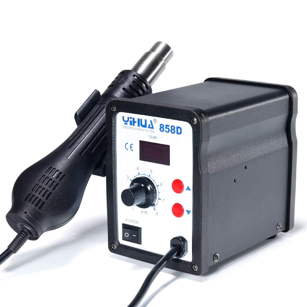 MMOBIEL Yihua 858D Hot-Air Soldering Rework SMD Station incl 3 nozzles 100/°C up to 500/°C
