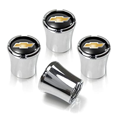Chevrolet Chrome & Black Valve Stem Caps w/Gold Bowtie Logo - Set of 4: Automotive