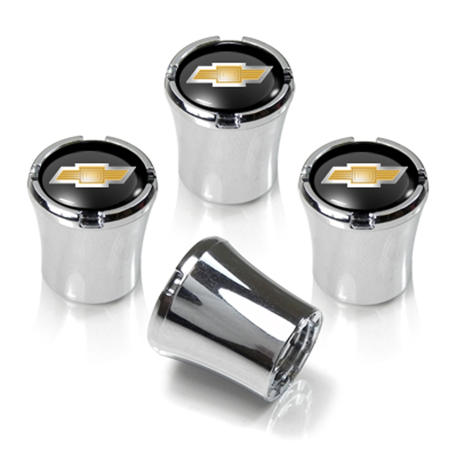 Chevrolet Chrome & Black Valve Stem Caps w/Gold Bowtie Logo - Set of 4