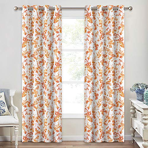 Orange And White Curtains (KGORGE Home Decor Curtain Panels - Printed Curtains Watercolor Botanic Dots on White Background Bright Painting, Thermal Insulated Summer Drapes for Bedroom Dining, 2 Pcs, 52
