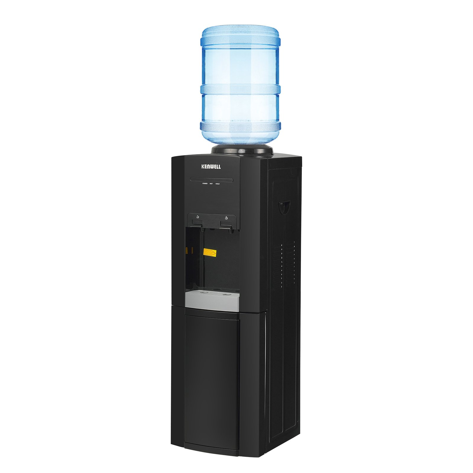KUPPET 5 Gallon Water Cooler Dispenser-Top Loading Freestanding Water Dispenser with Storage Cabinet, Two Temperature Settings-Hot(85℃-95℃), Normal Temperature(10-15℃), BLACK