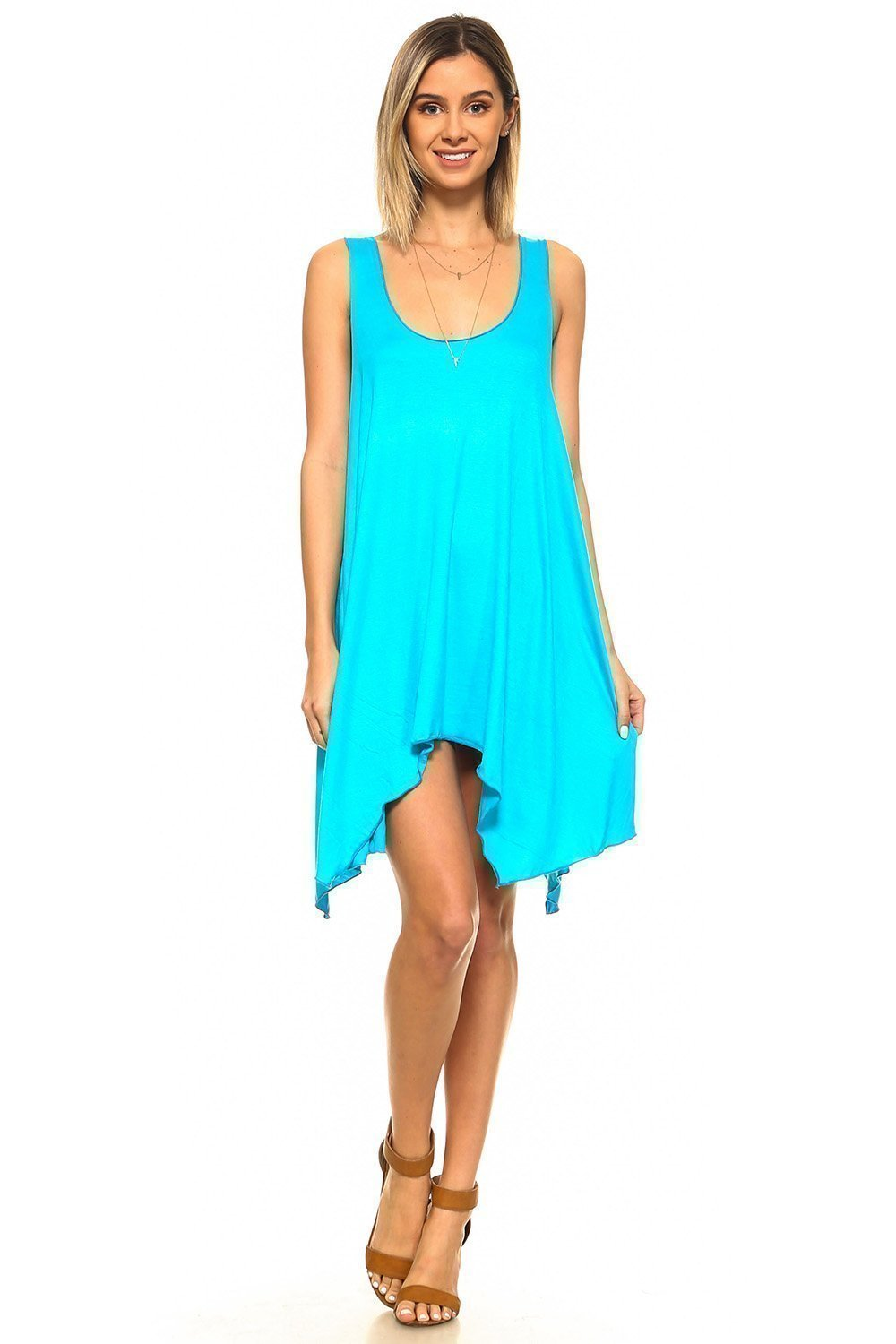 Simplicitie Women's Sleeveless Swing Flare Dress Tunic Tank Top - Regular and Plus Size - Turquoise - Made in USA