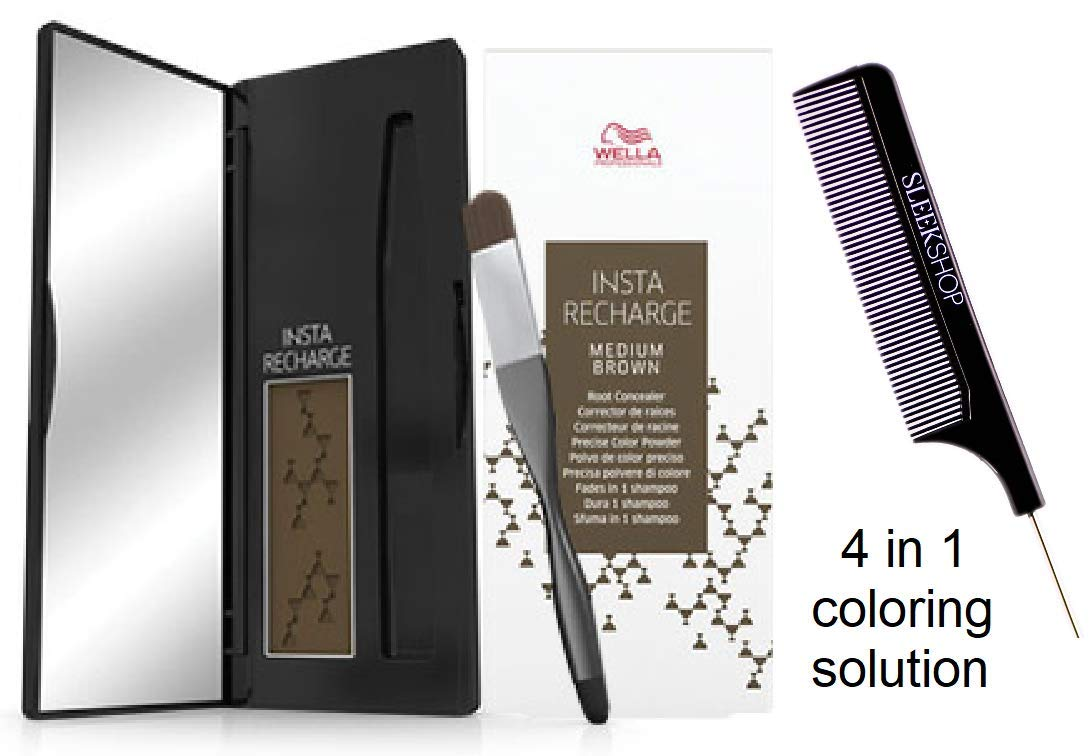 Wella INSTA RECHARGE Root Concealer, Precise Color Powder (STYLIST KIT) Fades in 1 Shampoo, 0.07 oz / 2.1 g (MEDIUM BROWN) by Wella Professionals