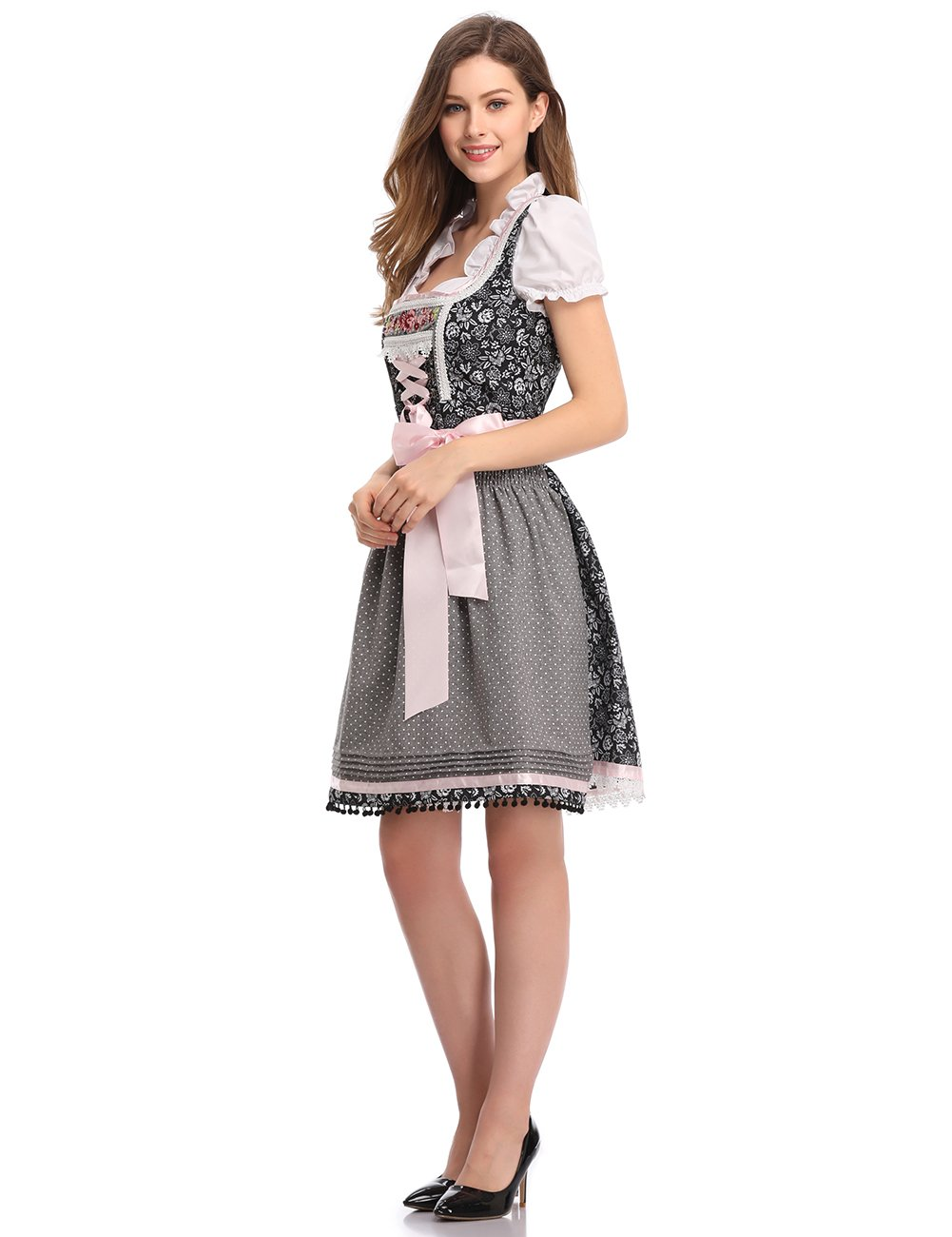 Clearlove 3pcs Women's Pink Floral Traditional Dirndl Set - Dress, Blouse, Apron for Oktoberfest Carnival Theme Party Cosplay Grey XXL