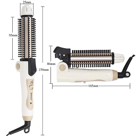 Cepillo moldeador de viaje portátil 3 en 1 alisador rizador y permanente Herramienta de salón de peluquería: Amazon.es: Belleza