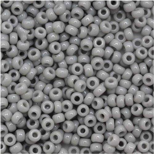 Toho Round Seed Beads 11/0 #53 'Opaque Gray' 8 Gram Tube 11/0 Toho Seed Beads