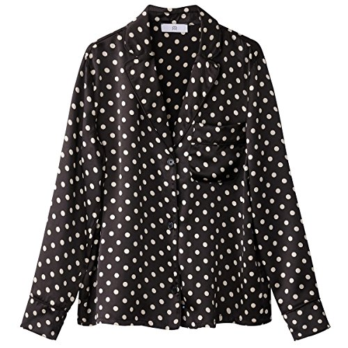 La Redoute Collections Womens Pure Silk Polka Dot Print Shirt Black Size US 16 - FR 46 from La Redoute