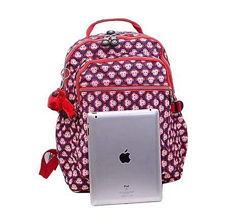 Caliente vender bolsa Shoudler grande seúl Mono impreso mochila rojo nailon mochila para portátil para estudiantes