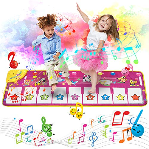 "Music Piano Mat, Piano Keyboard Playmat Dance Mat Electronic Music Mat Touch Play Blanket 39.4""X14.2"", 8 Animal Sound Options Built-in Speaker&Demo, Xmas Gifts Toys for Girls Boys Toddlers Kids"
