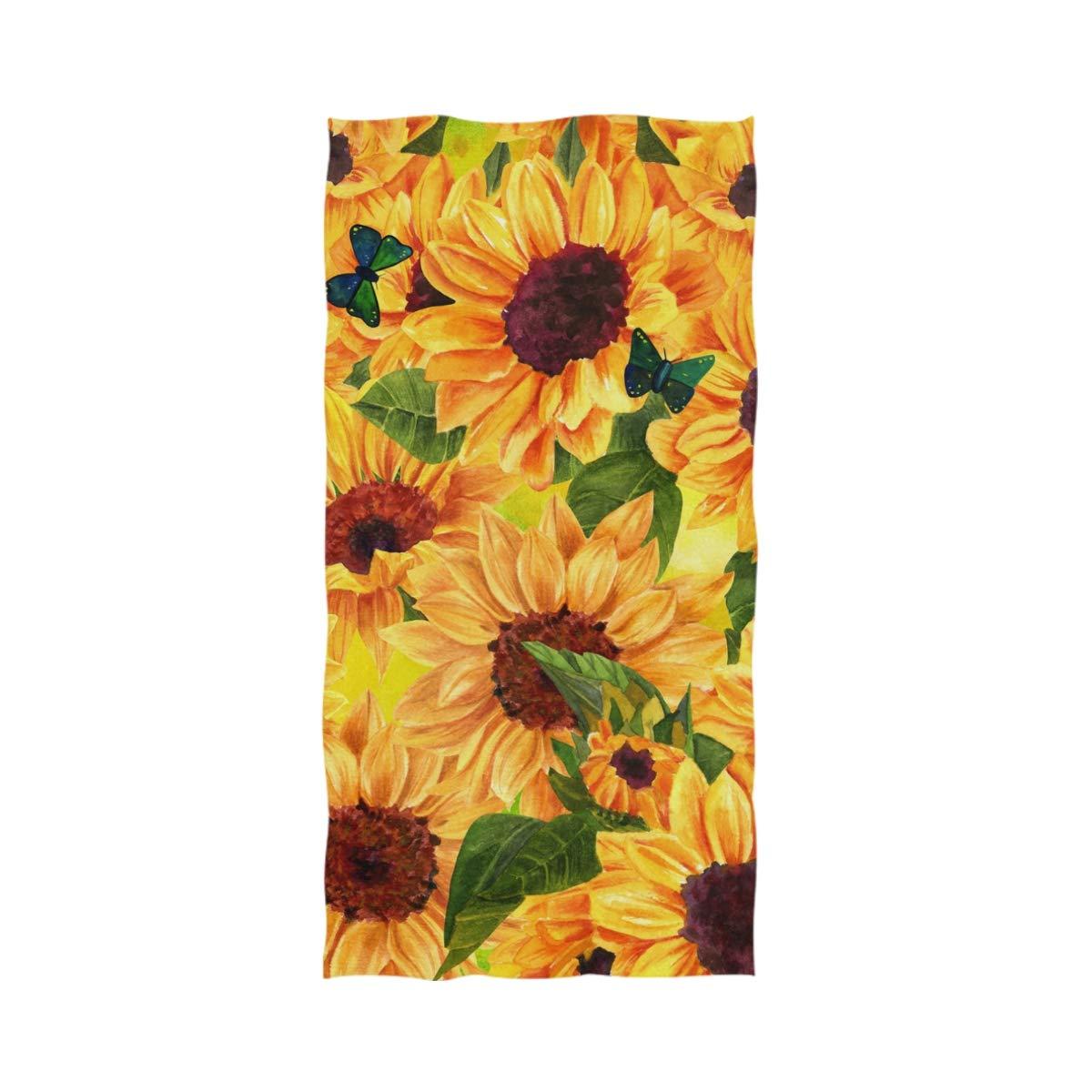 "Naanle Chic Vibrant Yellow Sunflower Butterflies Soft Large Decorative Eco-Friendly Hand Towels Bath Towel Multipurpose for Bathroom, Hotel, Gym and Spa (16"" x 30"",Floral)"