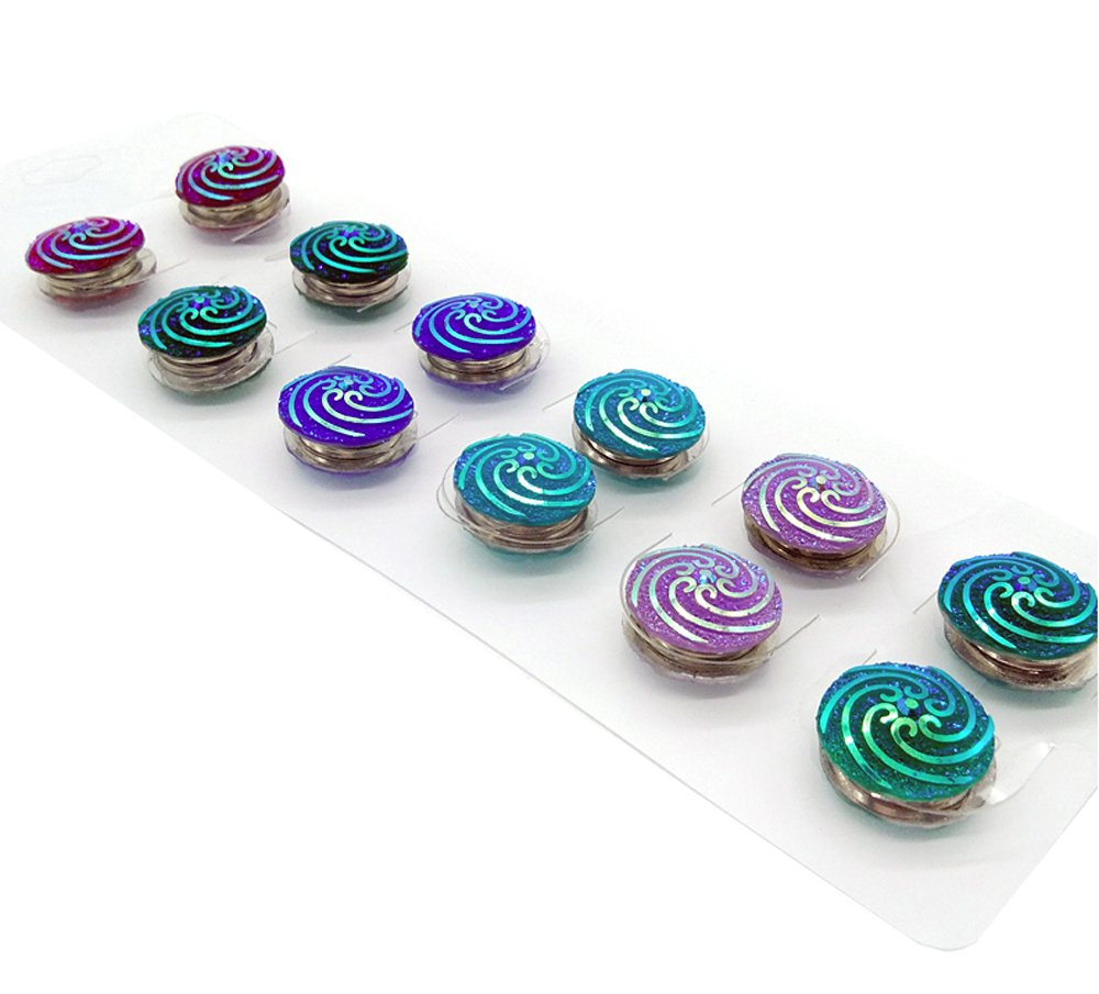 Zaffron Magnetic Scarf Brooch Round Hijab Pin Accessory (Shimmering Spirals (12 pack))