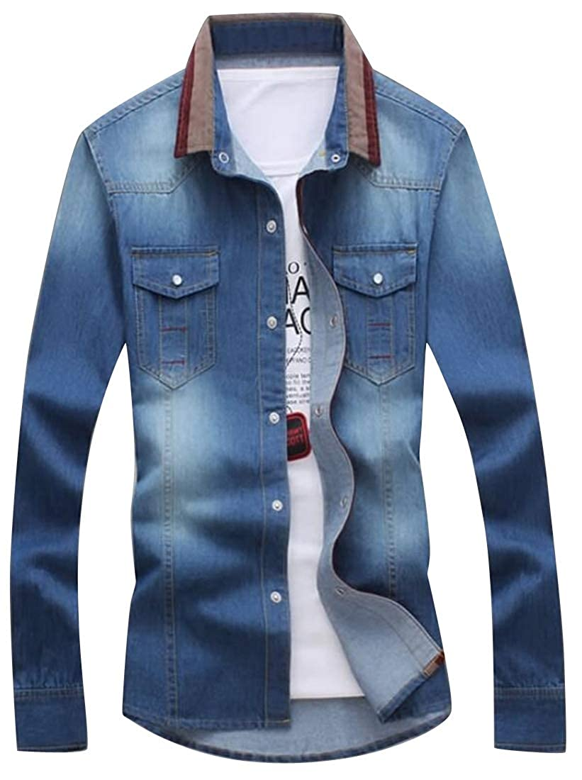 ARTFFEL Mens Jeans Regular Fit Lapel Long Sleeve Single Breasted Button Down Blouse Shirt Tops
