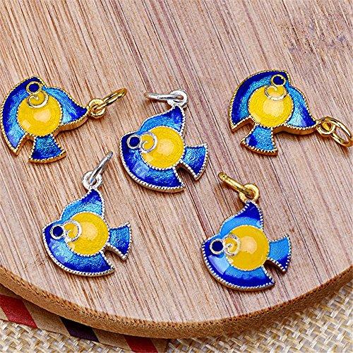 (MFMei 925 Sterling Silver Fish Golden Plated Cloisonne Pendants (TL055) (Golden))