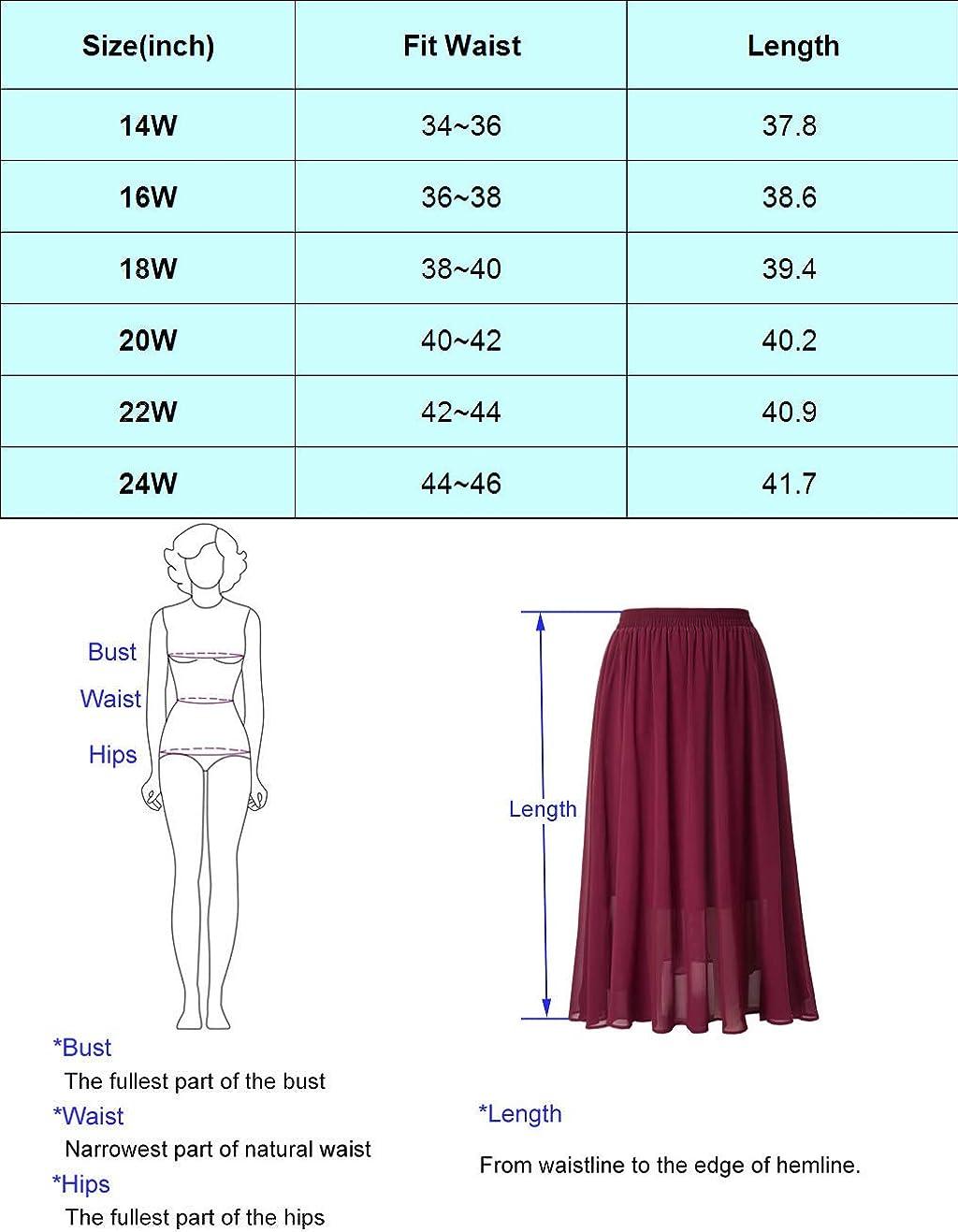 Hanna Nikole Women Plus Size Chiffon Beach Pleated Elastic High Waisted Maxi Skirts