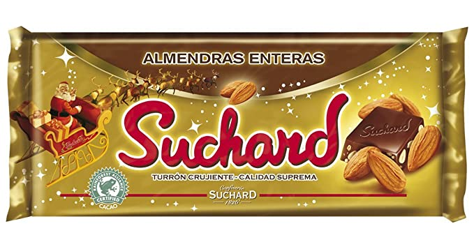 Suchard - Turrón de Chocolate Leche con Almendras enteras y Arroz Inflado, 260 g