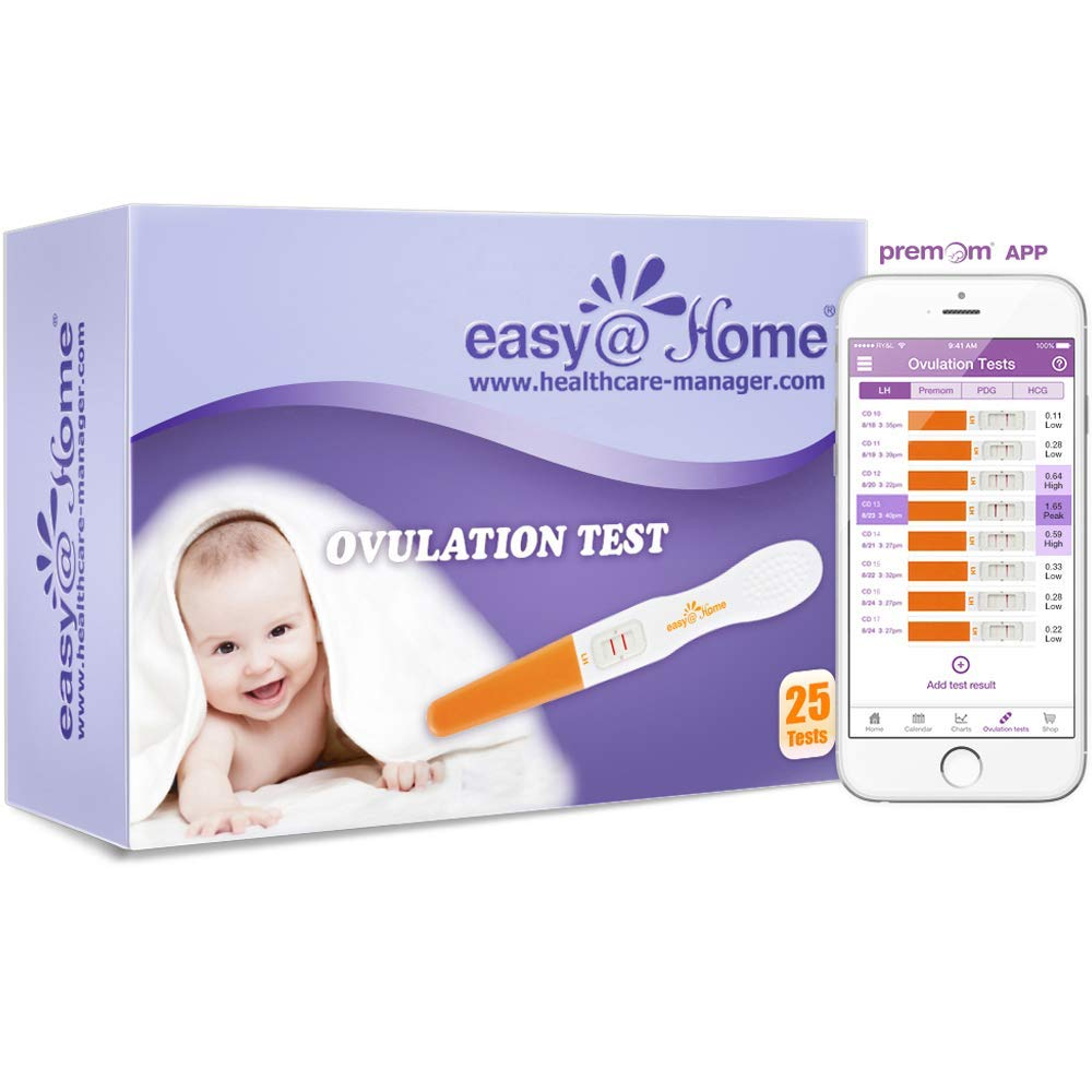 Easy@Home 25 Ovulation Predictor Kit Test Sticks, FSA Eligible Midstream Fertility Tests, Powered by Premom Ovulation Predictor App and Period Tracking Free iOS and Android App, 25 LH Tests by Easy@Home