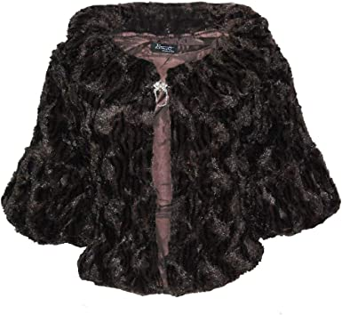 Black faux fur notch collar bridal evening wedding bolero jacket shrug Size S-XL
