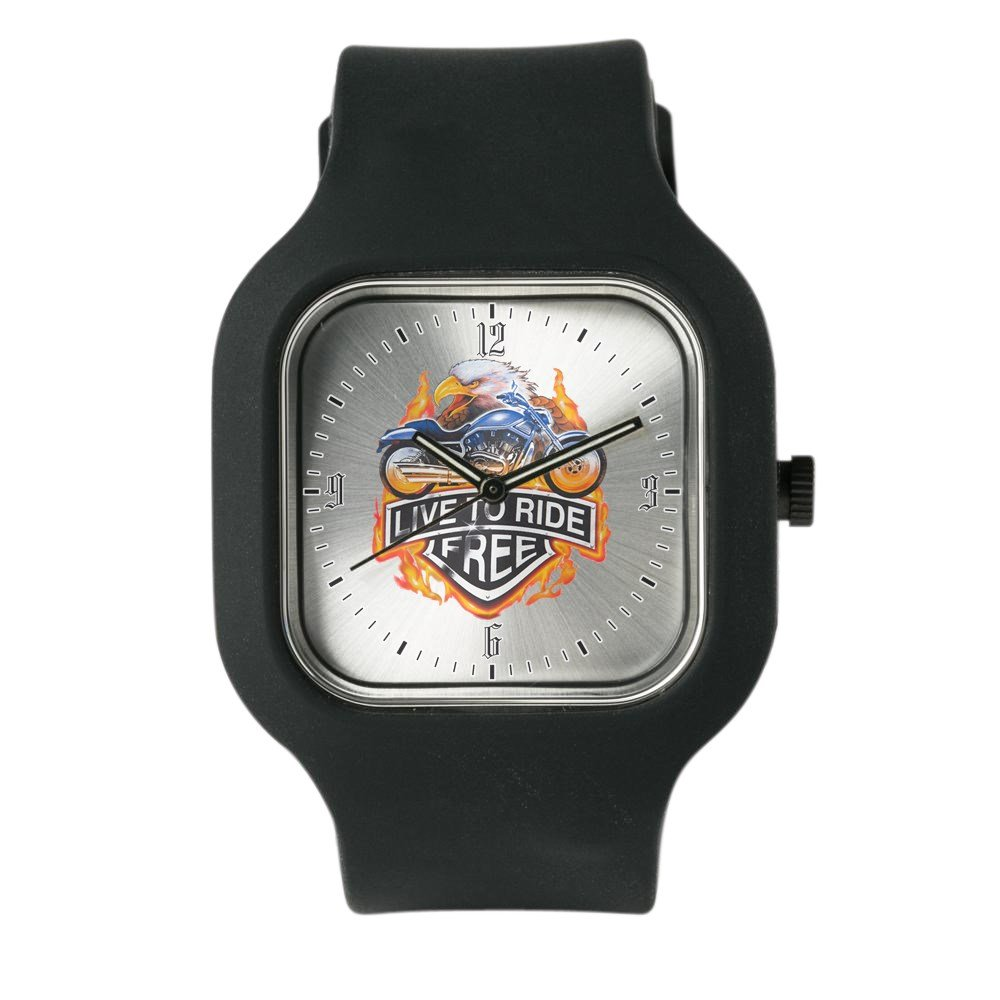 Black Fashion Sport Watch Live To Ride Free Eagle Motorcycle