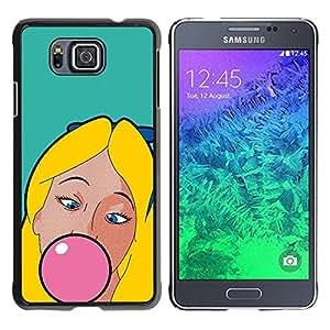 TopCaseStore / la caja del caucho duro de la cubierta de protección de la piel - Chewing Gum Bubble Pink Blonde Girl Woman - Samsung GALAXY ALPHA G850