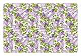 Mauve Pet Mats for Food and Water by Ambesonne, Spring Tree with Vibrant Blossoms Frangrance Botany Plant Eco Illustration Print, Rectangle Non-Slip Rubber Mat for Dogs and Cats, Lilac Green