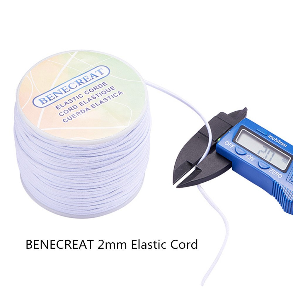 2mm, White BENECREAT 2mm 50 Yard Elastic Cord Stretch Thread Beading Cord Fabric Crafting String