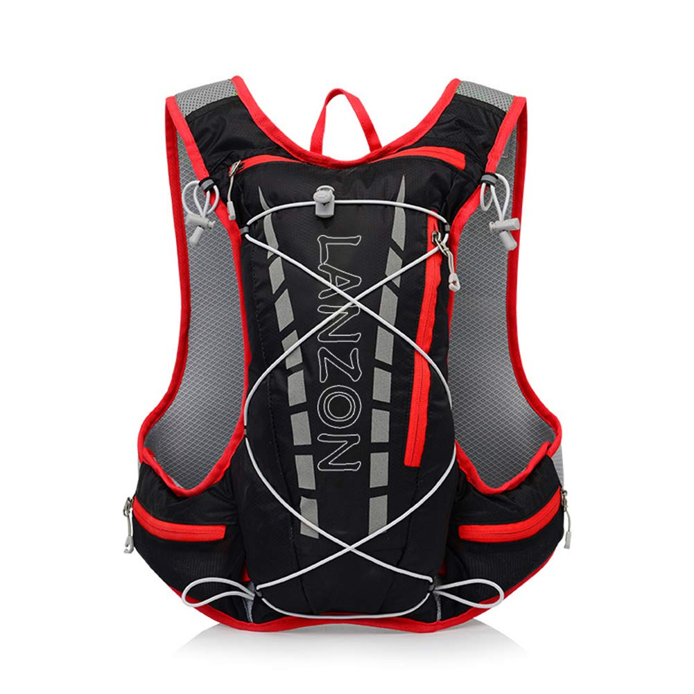 LANZON 5L Hydration Pack (NO Bladder), Marathon Running Vest, Hiking Cycling Backpack - Black
