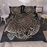 Sleepwish Gold Black Tortoise Bedding 3D Printed Golden Duvet Cover Turtle Floral Pattern Funky Duvet Cover Bedspread Quilt Cover (King)
