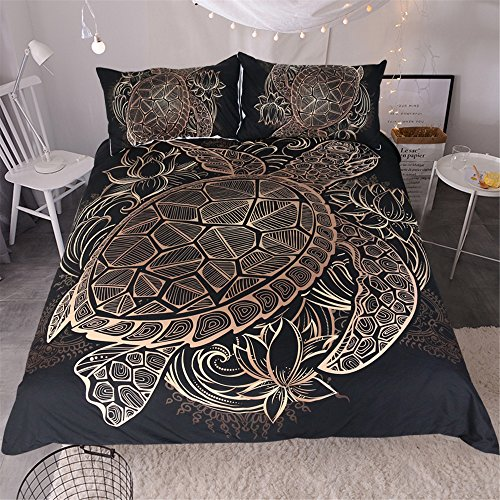 Sleepwish Gold Black Tortoise Bedding 3D Printed Golden Duvet Cover Turtle Floral Pattern Funky Duvet Cover Bedspread Quilt Cover (King) by Sleepwish