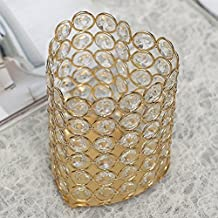VINCIGANT Crystal Votive Candle Holder Heart Vases for Dining Room Table Centerpieces Gold