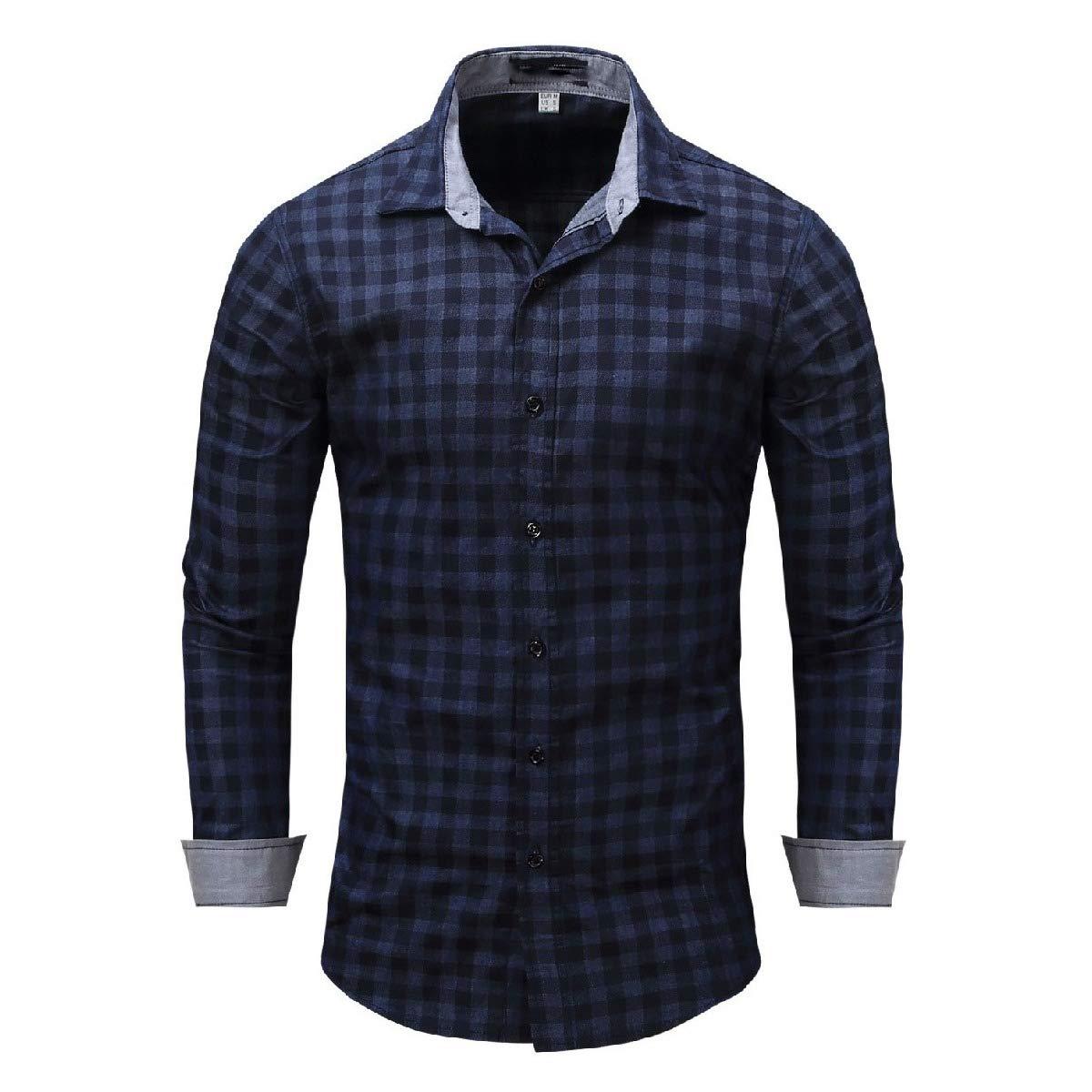 Tralounry Mens Long Sleeve Oversized Premium Cowboy Classic Plaid Shirts