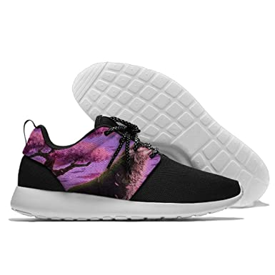Unisex Fantasy Purple Abstract Lines Mesh Cloth Printing Running Shoes