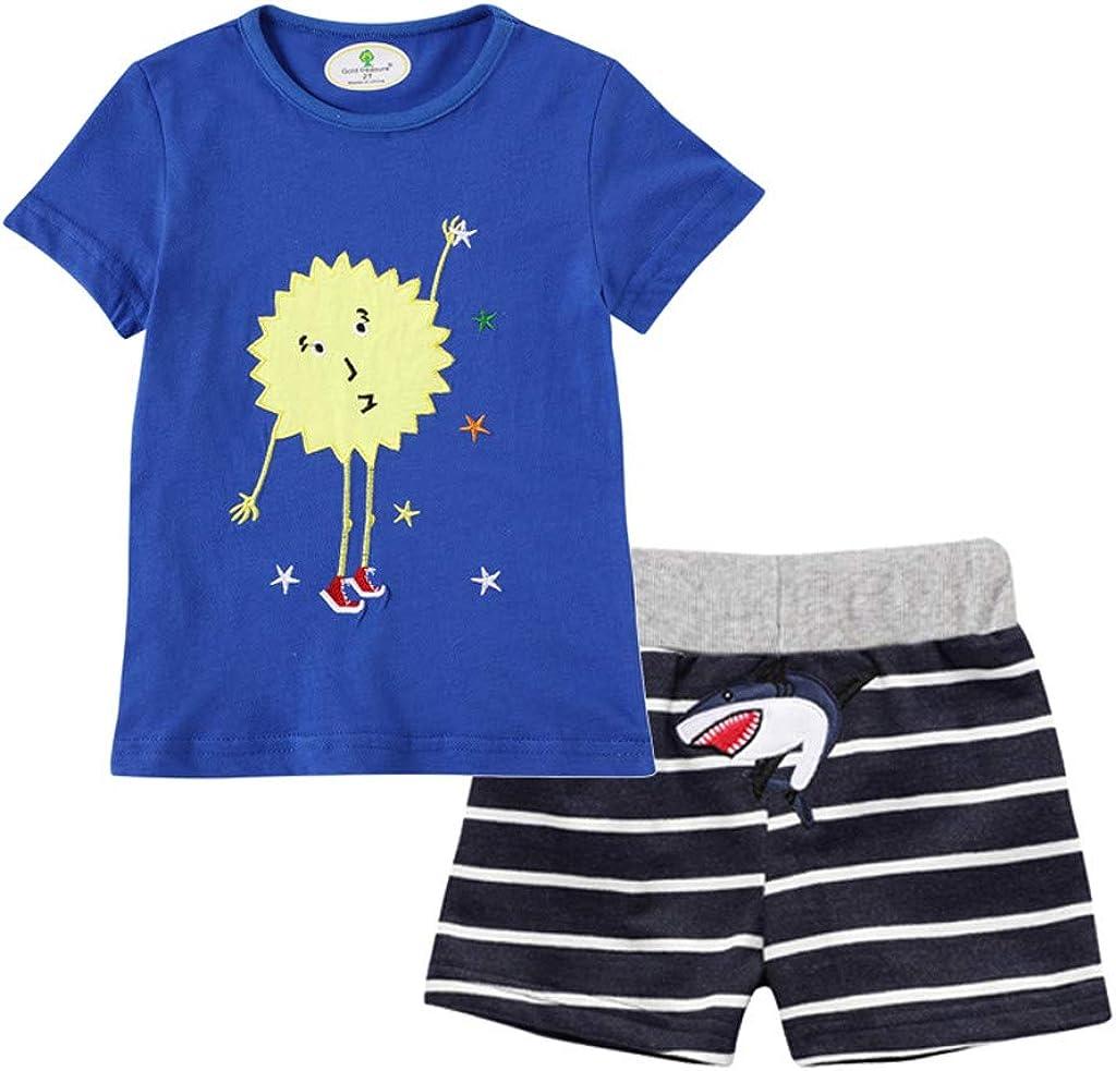 Toddler Little Boys Summer Pajamas Sleepwear Dinosaur T-Shirts Shorts 2PCS Outfits Set WOCACHI Baby Boys Shorts Sets