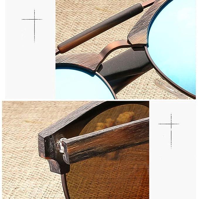6665a9ff25c86 Lunettes soleil Lunettes de Soleil Rondes de Protection polarisées UV400  Classiques avec Coussin de Nez en Silicone Actif Confortable Lunettes  Bambou ...