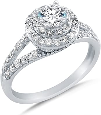 0.25Ct Cz Halo /& Pave Sterling Silver Engagement Ring